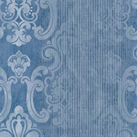 Ariana Dark Blue Striped Damask Wallpaper