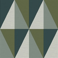 Aspect Green Geometric Faux Grasscloth Wallpaper