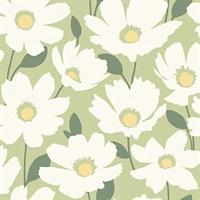Astera Green Floral Wallpaper