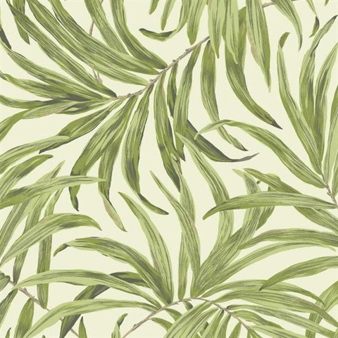 Off White Bali Leaves Wallpaper