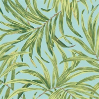 Light Blue Bali Leaves Wallpaper