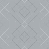 Ballard Pewter Geometric Wallpaper