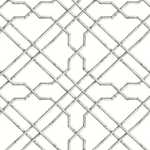 Grey Bamboo Trellis Wallpaper