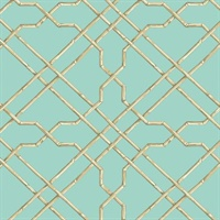 Light Blue Bamboo Trellis Wallpaper