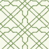 Green Bamboo Trellis Wallpaper