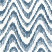 Bargello Blue Faux Grasscloth Wave Wallpaper