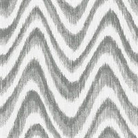 Bargello Grey Faux Grasscloth Wave Wallpaper