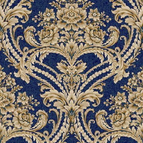 Bq3892 Blue And Gold Baroque Floral Damask Wallpaper