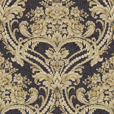 BQ3890 Black And Gold Baroque Floral Damask Wallpaper