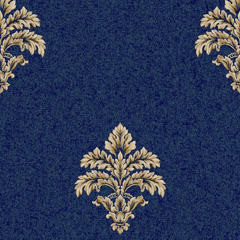 Bq3901 blue and gold baroque medallion fleur de lis toile Fleur de lis window treatments