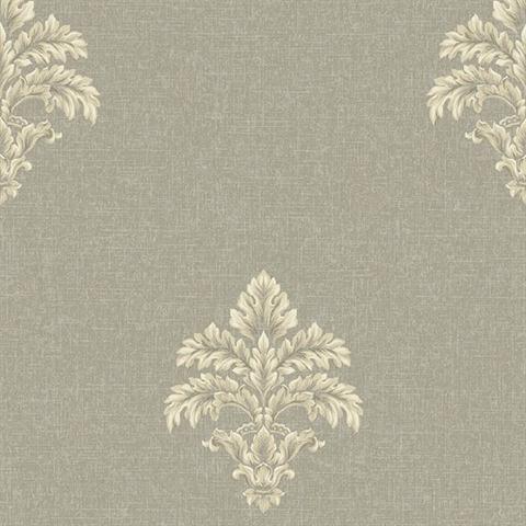 BQ3903 Taupe And Gold Baroque Medallion Fleur De Lis Toile Wallpaper