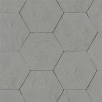 Bascom Dark Grey Stone Hexagon Wallpaper