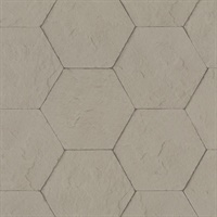 Bascom Light Grey Stone Hexagon Wallpaper