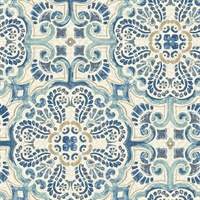 Florentine Blue Faux Tile Wallpaper