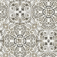 Florentine Grey Faux Tile Wallpaper