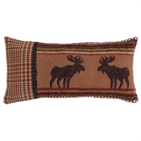 Bayfield Small Oblong Houndstooth & Moose Pillow