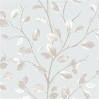 Beech Teal Leaf Wallpaper