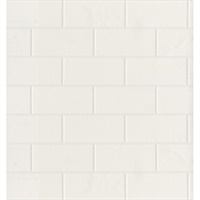 Bettina White Paintable Subway Tile Wallpaper