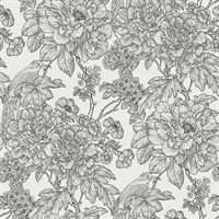 Birds of Paraside Breeze Black Floral Wallpaper