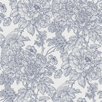 Birds of Paraside Breeze Blue Floral Wallpaper