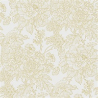 Birds of Paraside Breeze Mustard Floral Wallpaper