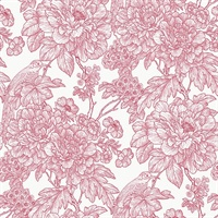 Birds of Paraside Breeze Red Floral Wallpaper