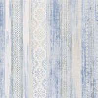 Blair Blue Ikat Stripe  Wallpaper