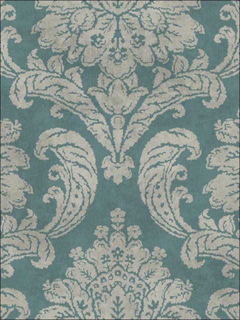 FY41402 Blue Damask Wallpaper