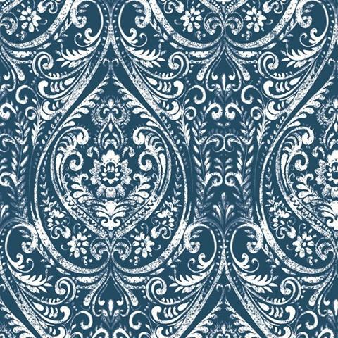 Nu1689 Bohemian Damask Indigo Peel Stick Wallpaper By Nuwallpaper