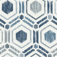 Borneo Blue Geometric Grasscloth Wallpaper