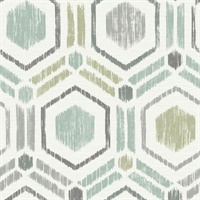 Borneo Light Green Geometric Grasscloth Wallpaper