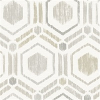 Borneo Light Grey Geometric Grasscloth Wallpaper