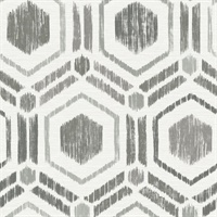 Borneo Taupe Geometric Grasscloth Wallpaper