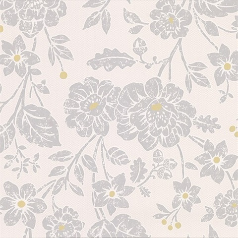 Bourdain Light Grey Floral Wallpaper
