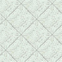 Brandi Light Blue Tin Tile Wallpaper