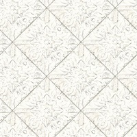 Brandi White Tin Tile Wallpaper