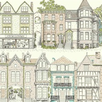 Ashford Toiles Brownstone Terrace Wallpaper