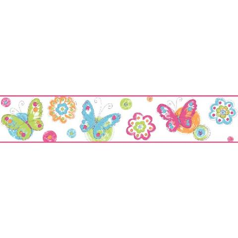 KS2253BD White And Blue Butterfly Circle Border