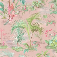 Calliope Pink Palm Scenes Wallpaper