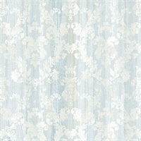 Camilia Light Blue Damask  Wallpaper