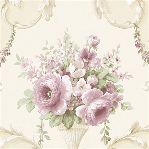 In-register Ornamental Floral Wallpaper