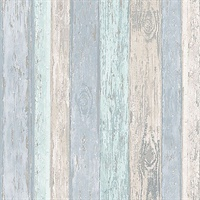 Cannon Blue Distressed Wood Wallpaper