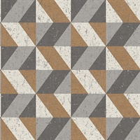 Cerium Copper Concrete Geometric Wallpaper