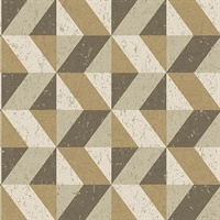 Cerium Light Brown Concrete Geometric Wallpaper