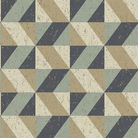 Cerium Multicolor Concrete Geometric Wallpaper