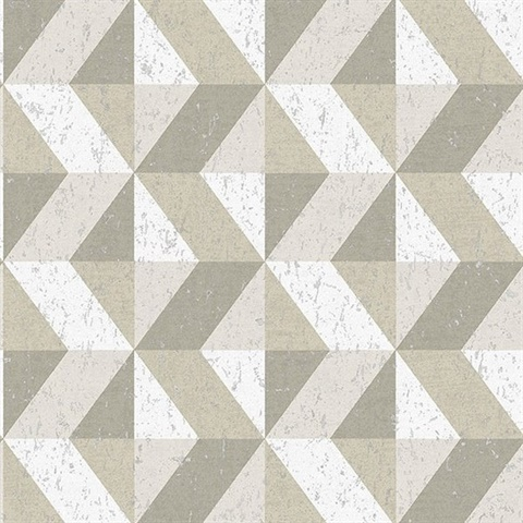 Cerium Neutral Concrete Geometric Wallpaper