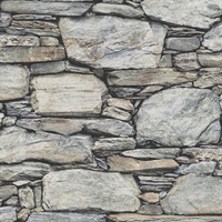 Cesar Grey Stone Wall Wallpaper
