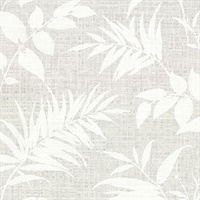 Chandler Grey Botanical Faux Grasscloth Wallpaper
