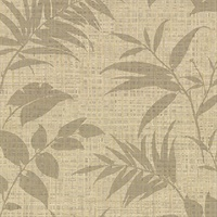 Chandler Khaki Botanical Faux Grasscloth Wallpaper