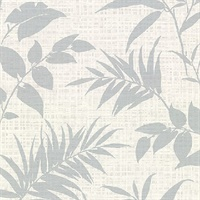 Chandler Off-White Botanical Faux Grasscloth Wallpaper